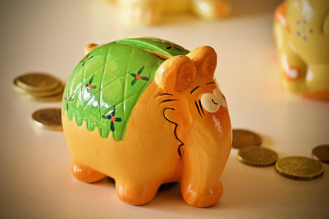 pokladnička, kasička, oranžový slon